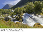 Купить «Briksdal Glacier River, Jostedalsbreen National Park, Norway, Scandinavia, Europe.», фото № 29566470, снято 19 июля 2019 г. (c) age Fotostock / Фотобанк Лори