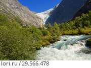 Купить «Briksdal Glacier River, Jostedalsbreen National Park, Norway, Scandinavia, Europe.», фото № 29566478, снято 19 июля 2019 г. (c) age Fotostock / Фотобанк Лори