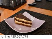 Купить «A slice of puff chocolate cake in a cafe», фото № 29567778, снято 8 марта 2018 г. (c) Володина Ольга / Фотобанк Лори