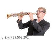 Купить «Musician with soprano saxophone», фото № 29568202, снято 24 сентября 2012 г. (c) Argument / Фотобанк Лори