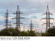 Купить «Republic of Moldova, power pylons», фото № 29568654, снято 30 августа 2016 г. (c) Caro Photoagency / Фотобанк Лори