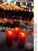 Купить «Germany, Berlin - Commemoration of the victims of the terrorist attack at Christmas Market Breitscheidplatz (Gedaechtniskirche) 2016», фото № 29568682, снято 20 декабря 2017 г. (c) Caro Photoagency / Фотобанк Лори