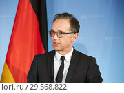 Купить «Berlin, Germany - Federal Foreign Minister Heiko Maas.», фото № 29568822, снято 17 октября 2018 г. (c) Caro Photoagency / Фотобанк Лори