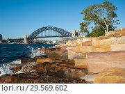 Sydney, Australia, Sydney Harbour Bridge from Millers Point in Barangaroo (2018 год). Стоковое фото, агентство Caro Photoagency / Фотобанк Лори