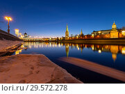 Купить «View of the Moskva River and the Kremlin (at night), Moscow, Russia--the most popular view of Moscow», фото № 29572278, снято 24 марта 2018 г. (c) Владимир Журавлев / Фотобанк Лори