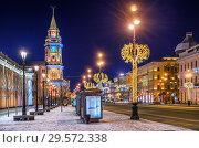 Купить «Новый год на Невском проспекте Christmas decorations on Nevsky Prospect», фото № 29572338, снято 12 января 2018 г. (c) Baturina Yuliya / Фотобанк Лори