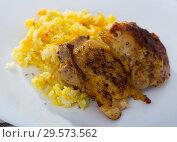 Купить «Rice with roasted chicken thighs», фото № 29573562, снято 23 июля 2019 г. (c) Яков Филимонов / Фотобанк Лори