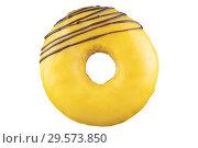Купить «Isolated donut with yellow glaze, chocolate strips. shot on the stack. Photographed by stacking.», фото № 29573850, снято 16 декабря 2018 г. (c) Александр Якимов / Фотобанк Лори
