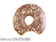 Купить «Isolated chocolate donut shot into stack. Photographed by stacking. Bitten donut. Donut stuffed.», фото № 29573858, снято 17 февраля 2019 г. (c) Александр Якимов / Фотобанк Лори