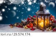 Lantern and christmas decoration. Стоковое фото, фотограф Иван Михайлов / Фотобанк Лори
