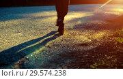 Купить «Sport man running at asphalt road. Rural city park. Green tree forest and sun rays on horizon.», видеоролик № 29574238, снято 9 апреля 2018 г. (c) Александр Маркин / Фотобанк Лори