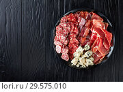 Купить «cheese, sausages, dry aged pork meat, top view», фото № 29575010, снято 9 декабря 2018 г. (c) Oksana Zh / Фотобанк Лори