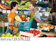 Купить «Adult man and woman are demonstraiting basket», фото № 29576222, снято 22 октября 2017 г. (c) Яков Филимонов / Фотобанк Лори