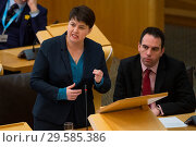Купить «Politicians attend the Scottish First Minister's Questions at Holyrood which has just passed an alternative Brexit Bill. Featuring: Ruth Davidson Where...», фото № 29585386, снято 22 марта 2018 г. (c) age Fotostock / Фотобанк Лори