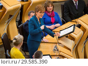 Купить «Politicians attend the Scottish First Minister's Questions at Holyrood which has just passed an alternative Brexit Bill. Featuring: Nicola Sturgeon Where...», фото № 29585390, снято 22 марта 2018 г. (c) age Fotostock / Фотобанк Лори