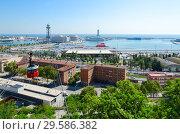 Купить «Канатная дорога. Вид с горы Монжуик на порт, Барселона, Испания», фото № 29586382, снято 13 сентября 2018 г. (c) Ольга Коцюба / Фотобанк Лори