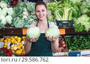 Купить «Saleswoman holding cabbage in market», фото № 29586762, снято 29 апреля 2018 г. (c) Яков Филимонов / Фотобанк Лори
