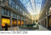 Turin city historical building Subalpina arcade , Italy (2017 год). Стоковое фото, фотограф Яков Филимонов / Фотобанк Лори