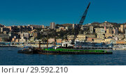 Купить «Panorama of Old Port of Genoa with floating crane», фото № 29592210, снято 4 декабря 2017 г. (c) Яков Филимонов / Фотобанк Лори