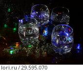 Купить «Christmas still life with gin at glasses», фото № 29595070, снято 28 октября 2013 г. (c) Короленко Елена / Фотобанк Лори