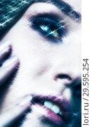 Купить «Portrait of beautiful young woman with vogue shining sparkle face makeup», фото № 29595254, снято 4 ноября 2018 г. (c) Serg Zastavkin / Фотобанк Лори