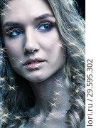 Купить «Portrait of beautiful young woman with vogue shining sparkle face makeup», фото № 29595302, снято 4 ноября 2018 г. (c) Serg Zastavkin / Фотобанк Лори