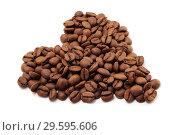 Купить «Кофейные зерна выложенные в форме сердца на белом фоне», фото № 29595606, снято 13 мая 2009 г. (c) Александр Гаценко / Фотобанк Лори
