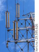 Купить «Опора ЛЭП с высоковольтными проводами на фоне голубого неба», фото № 29595626, снято 2 января 2009 г. (c) Александр Гаценко / Фотобанк Лори