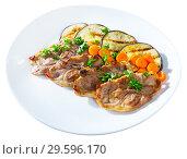 Купить «Broiled lamb loin chops with eggplant», фото № 29596170, снято 26 мая 2019 г. (c) Яков Филимонов / Фотобанк Лори