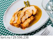 Купить «Delicious poultry dish – baked turkey breast», фото № 29596238, снято 21 июля 2019 г. (c) Яков Филимонов / Фотобанк Лори