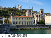 Купить «Cityscape of Lyon, town in France at riverside Saone at sunny day», фото № 29596258, снято 12 октября 2018 г. (c) Яков Филимонов / Фотобанк Лори