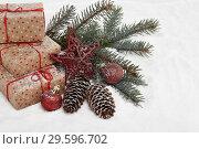 Купить «New Year and Christmas background», фото № 29596702, снято 9 декабря 2018 г. (c) Мельников Дмитрий / Фотобанк Лори