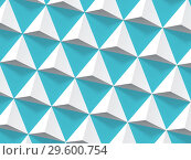 Купить «Abstract geometric pattern, white pyramids 3d», иллюстрация № 29600754 (c) EugeneSergeev / Фотобанк Лори