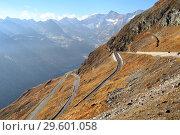 Купить «Панорамная высокогорная дорога Тиммельсйох. Эцтальские Альпы, Южный Тироль, Италия.», фото № 29601058, снято 17 октября 2018 г. (c) Bala-Kate / Фотобанк Лори