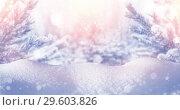 Купить «Christmas background with snow-covered fir trees and snowdrifts», фото № 29603826, снято 29 октября 2018 г. (c) Икан Леонид / Фотобанк Лори