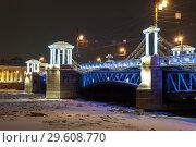 Купить «Дворцовый мост с новогодними украшениями. Санкт-Петербург», эксклюзивное фото № 29608770, снято 23 декабря 2018 г. (c) Александр Щепин / Фотобанк Лори