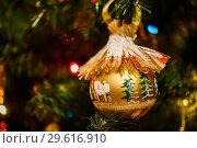 Купить «Новогодний шарик с изображением ёлок висит на ветке ёлки», эксклюзивное фото № 29616910, снято 25 декабря 2018 г. (c) Игорь Низов / Фотобанк Лори