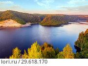 Beautiful view from above on the Yumaguzinsky reservoir on the Belaya River. Bashkortostan. Стоковое фото, фотограф Акиньшин Владимир / Фотобанк Лори
