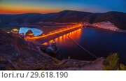 Купить «Beautiful view. Sunset. Night lights on the dam of the Yumaguzinsky reservoir on the White River. Bashkortostan», фото № 29618190, снято 30 августа 2018 г. (c) Акиньшин Владимир / Фотобанк Лори