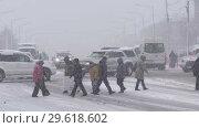 Купить «Люди переходят дорогу по пешеходному переходу во время снегопада», видеоролик № 29618602, снято 26 декабря 2018 г. (c) А. А. Пирагис / Фотобанк Лори