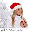 Купить «Young woman in Santa Claus cap.», фото № 29619558, снято 22 октября 2013 г. (c) Мельников Дмитрий / Фотобанк Лори