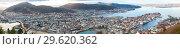 Купить «Bergen, Norway. Aerial wide panorama», фото № 29620362, снято 19 ноября 2017 г. (c) EugeneSergeev / Фотобанк Лори