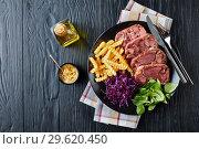 Купить «beef tongue and meat aspic with french fries», фото № 29620450, снято 18 декабря 2018 г. (c) Oksana Zh / Фотобанк Лори