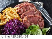 Купить «close-up of sliced beef tongue spicy aspic», фото № 29620454, снято 18 декабря 2018 г. (c) Oksana Zh / Фотобанк Лори