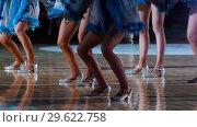 Купить «Women in sparkle costumes dancing for supporting the team», видеоролик № 29622758, снято 23 июля 2019 г. (c) Константин Шишкин / Фотобанк Лори