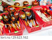 Купить «Russian traditional painted wooden spoon», фото № 29623162, снято 18 февраля 2018 г. (c) FotograFF / Фотобанк Лори