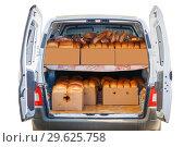 Купить «A car van is loaded with fresh hot bread.», фото № 29625758, снято 12 марта 2016 г. (c) Акиньшин Владимир / Фотобанк Лори