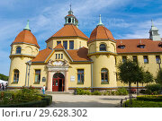 Купить «Balneology historical bath-house hospital building, Plac Zdrojowy, Sopot, Poland.», фото № 29628302, снято 10 сентября 2018 г. (c) age Fotostock / Фотобанк Лори