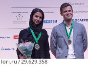 Купить «Sarasadat Khademalsharieh, Iran and Magnus Carlsen, Norway», фото № 29629358, снято 30 декабря 2018 г. (c) Stockphoto / Фотобанк Лори
