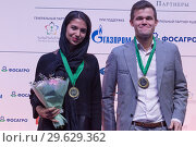 Купить «Sarasadat Khademalsharieh, Iran and Magnus Carlsen, Norway», фото № 29629362, снято 30 декабря 2018 г. (c) Stockphoto / Фотобанк Лори
